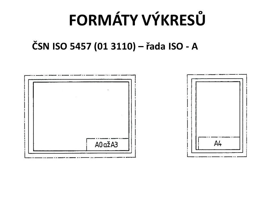 FORMÁTY VÝKRESŮ ČSN ISO 5457 (01 3110) – řada ISO - A
