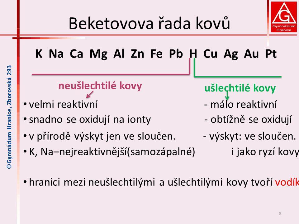 Beketovova řada kovů K Na Ca Mg Al Zn Fe Pb H Cu Ag Au Pt