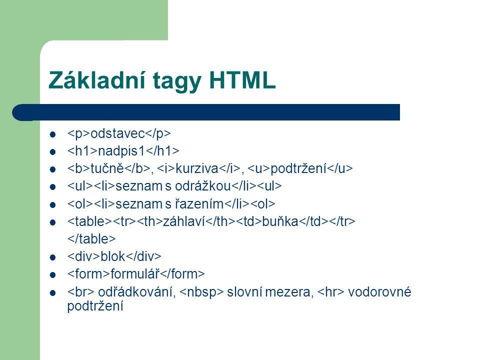 Základní tagy HTML <p>odstavec</p>