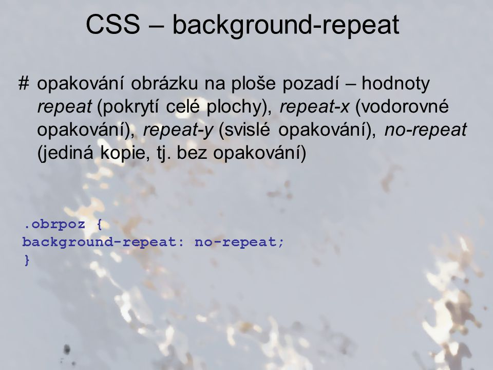CSS – background-repeat