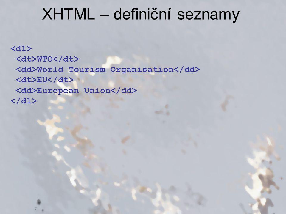 XHTML – definiční seznamy
