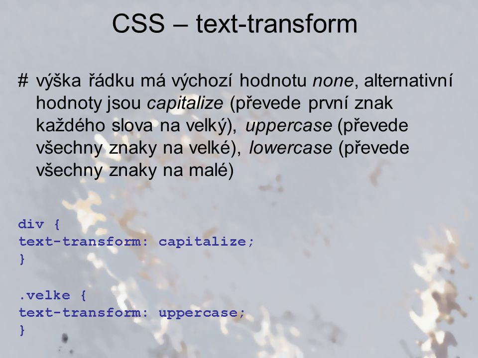 CSS – text-transform