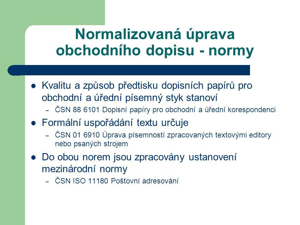 Normalizovaná úprava obchodního dopisu - normy