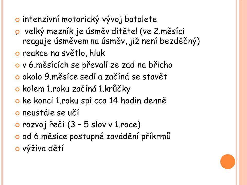 . intenzivní motorický vývoj batolete