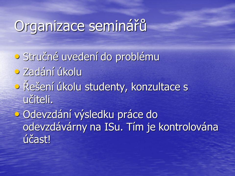 Organizace seminářů Stručné uvedení do problému Zadání úkolu