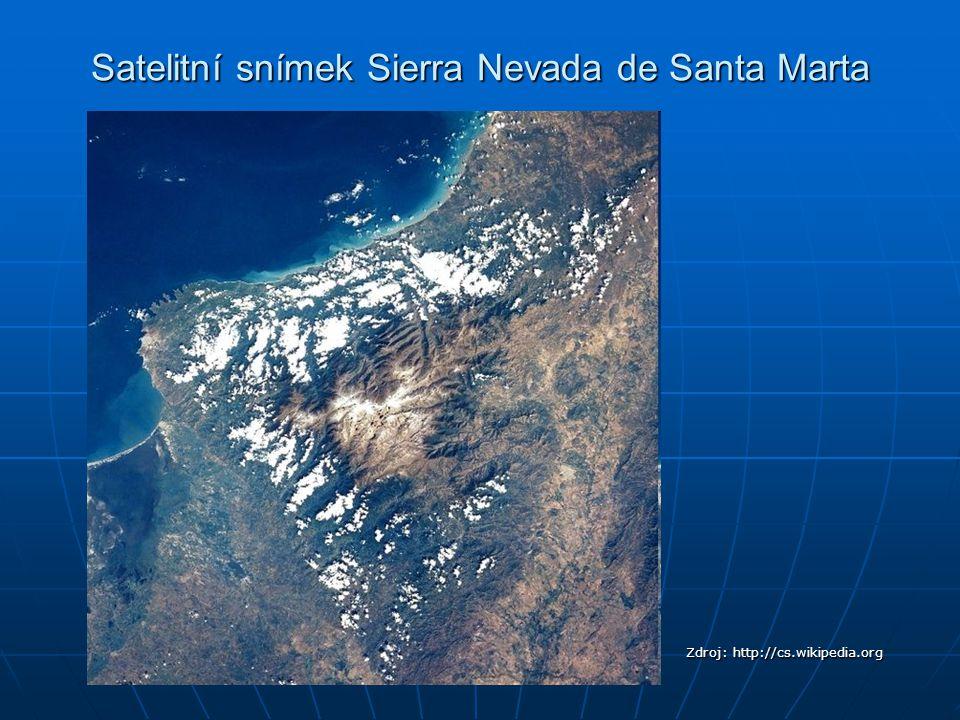 Satelitní snímek Sierra Nevada de Santa Marta