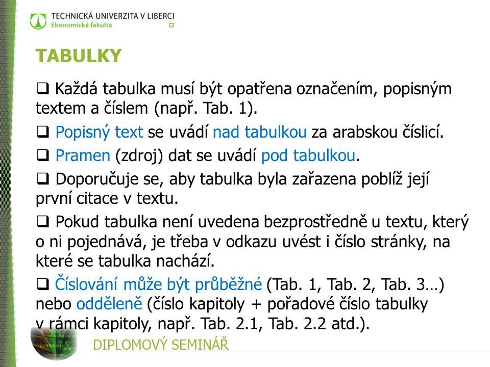 TABULKY Každá tabulka musí být opatřena označením, popisným textem a číslem (např. Tab. 1). Popisný text se uvádí nad tabulkou za arabskou číslicí.