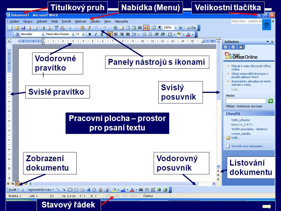 Pracovní plocha – prostor pro psaní textu