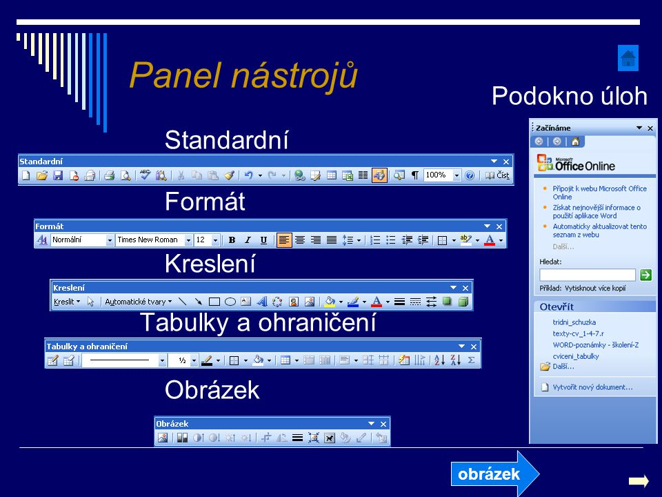 Panel nástrojů Podokno úloh Standardní Formát Kreslení