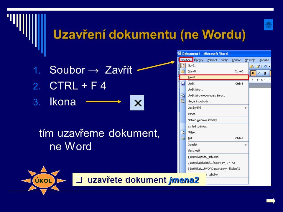 Uzavření dokumentu (ne Wordu)