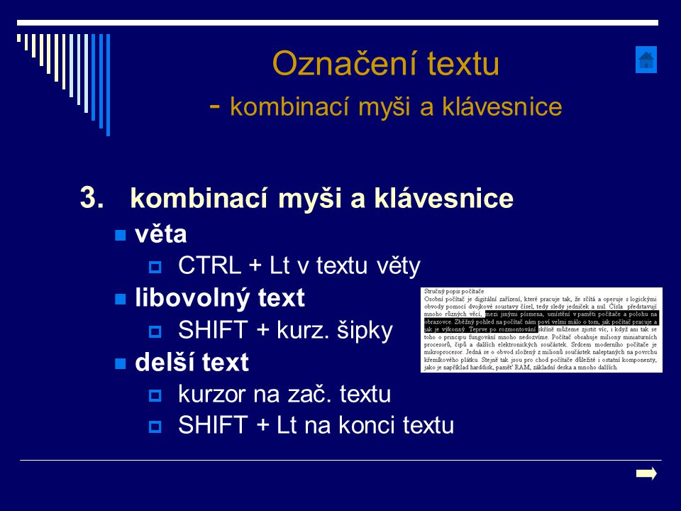 Označení textu - kombinací myši a klávesnice