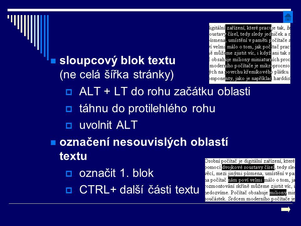 sloupcový blok textu (ne celá šířka stránky)