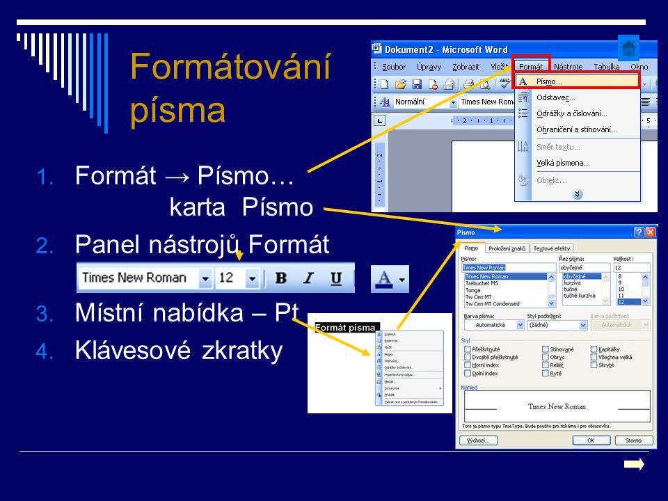 Formátování písma Formát → Písmo… karta Písmo Panel nástrojů Formát