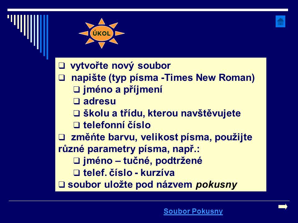 napište (typ písma -Times New Roman) jméno a příjmení adresu