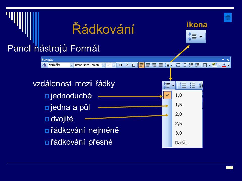 Řádkování Panel nástrojů Formát vzdálenost mezi řádky ikona jednoduché