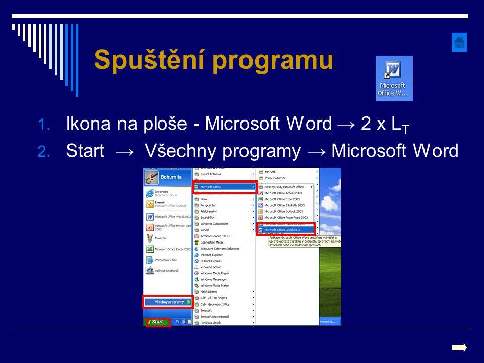 Spuštění programu Ikona na ploše - Microsoft Word → 2 x LT