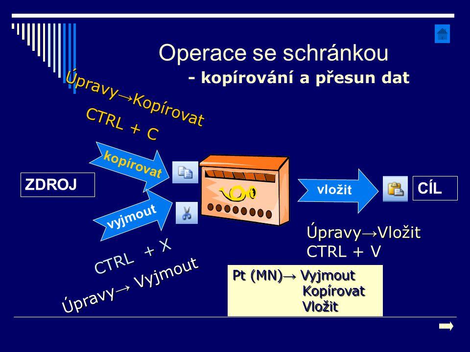Operace se schránkou - kopírování a přesun dat Úpravy→Kopírovat