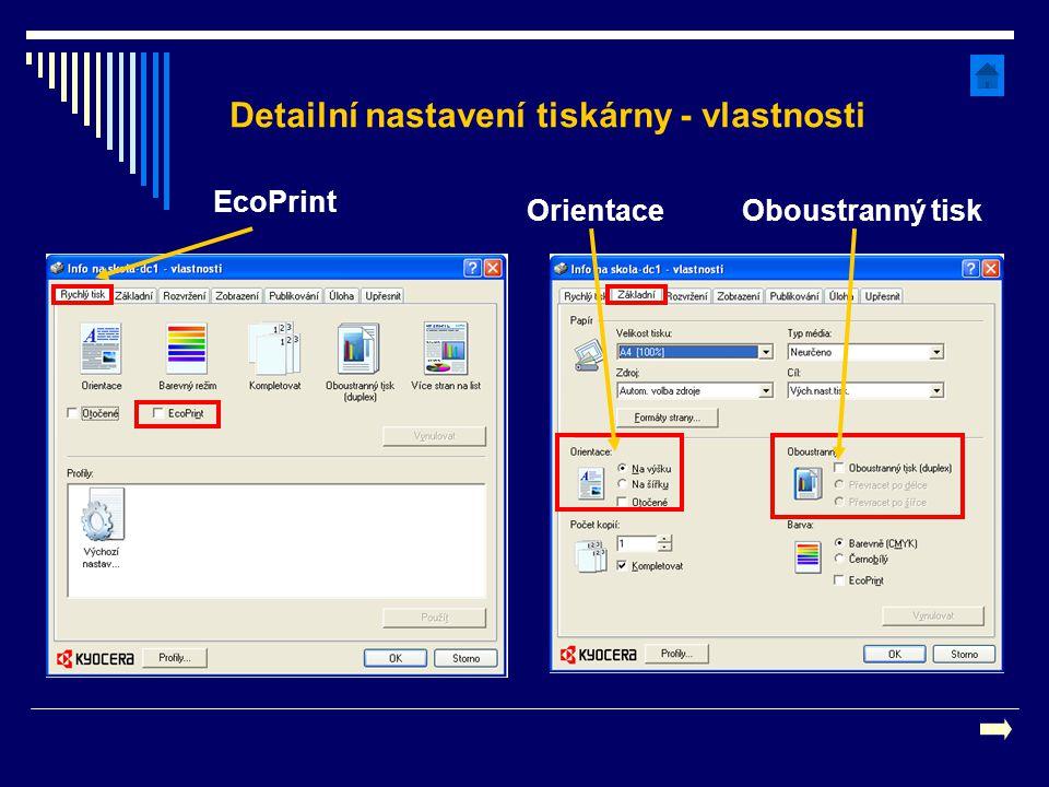 Detailní nastavení tiskárny - vlastnosti