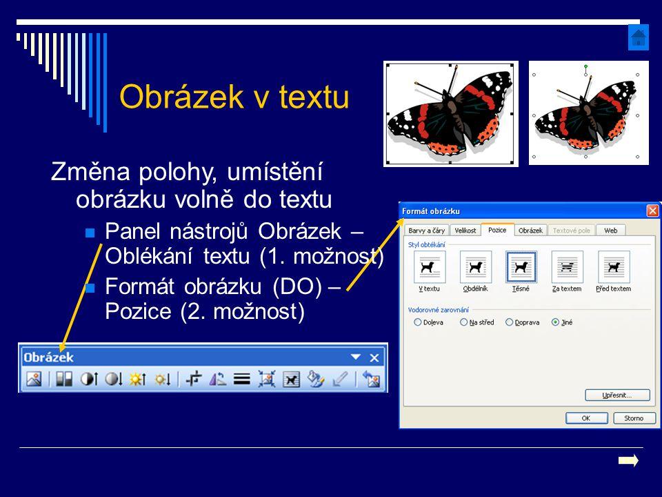 Obrázek v textu Změna polohy, umístění obrázku volně do textu