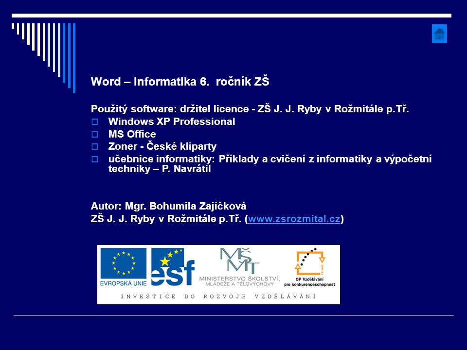 Word – Informatika 6. ročník ZŠ