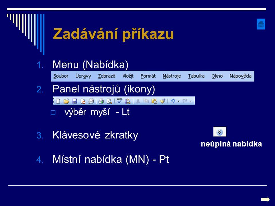 Zadávání příkazu Menu (Nabídka) Panel nástrojů (ikony)
