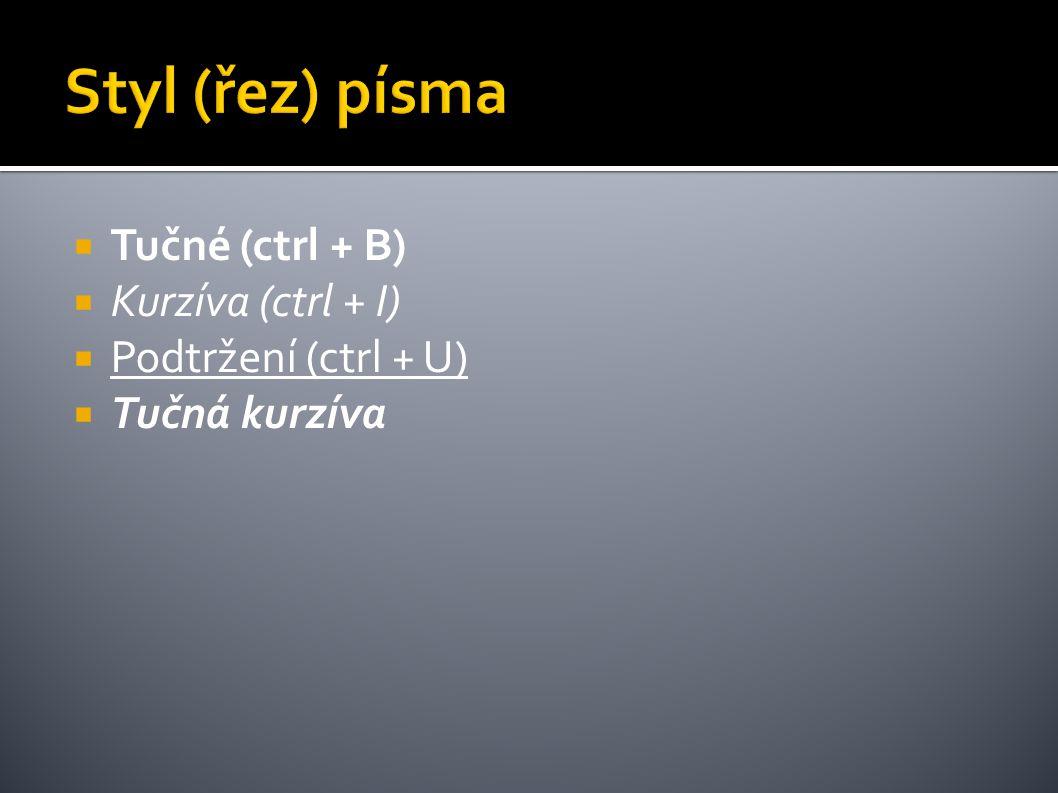 Styl (řez) písma Tučné (ctrl + B) Kurzíva (ctrl + I)