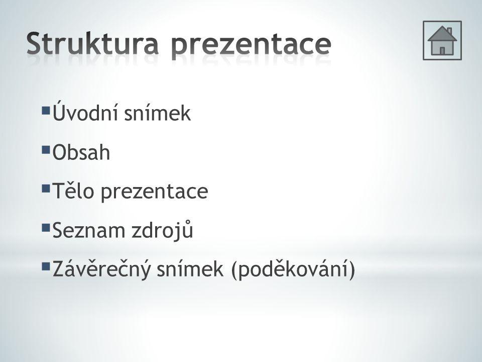 Struktura prezentace Úvodní snímek Obsah Tělo prezentace Seznam zdrojů