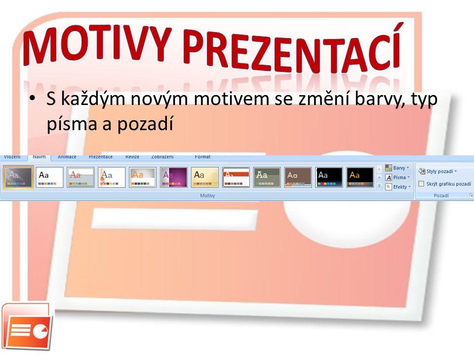 Motivy prezentací S každým novým motivem se změní barvy, typ písma a pozadí