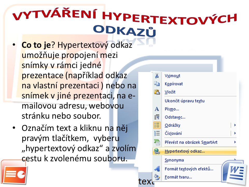 Vytváření hypertextových odkazů