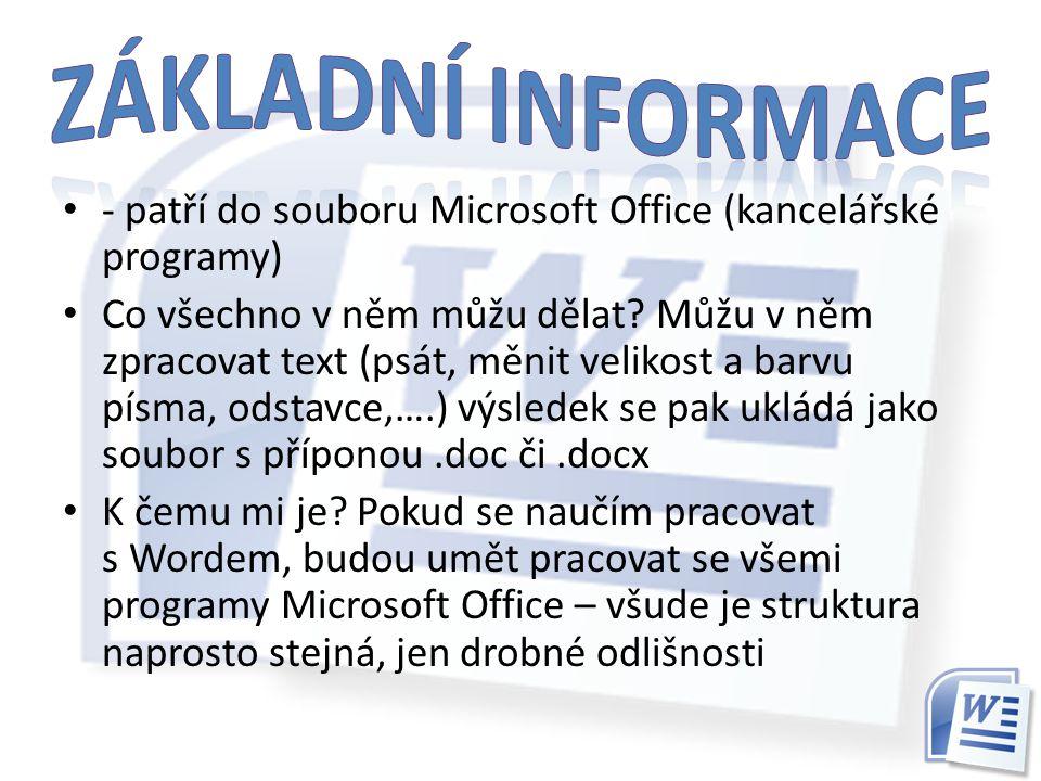 Základní informace - patří do souboru Microsoft Office (kancelářské programy)