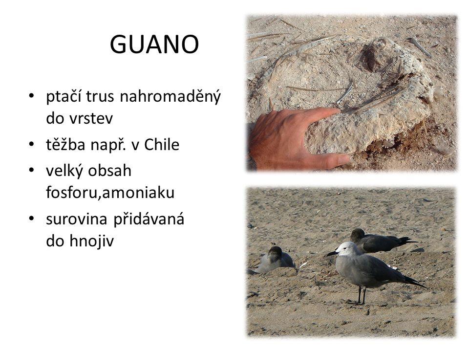 GUANO ptačí trus nahromaděný do vrstev těžba např. v Chile