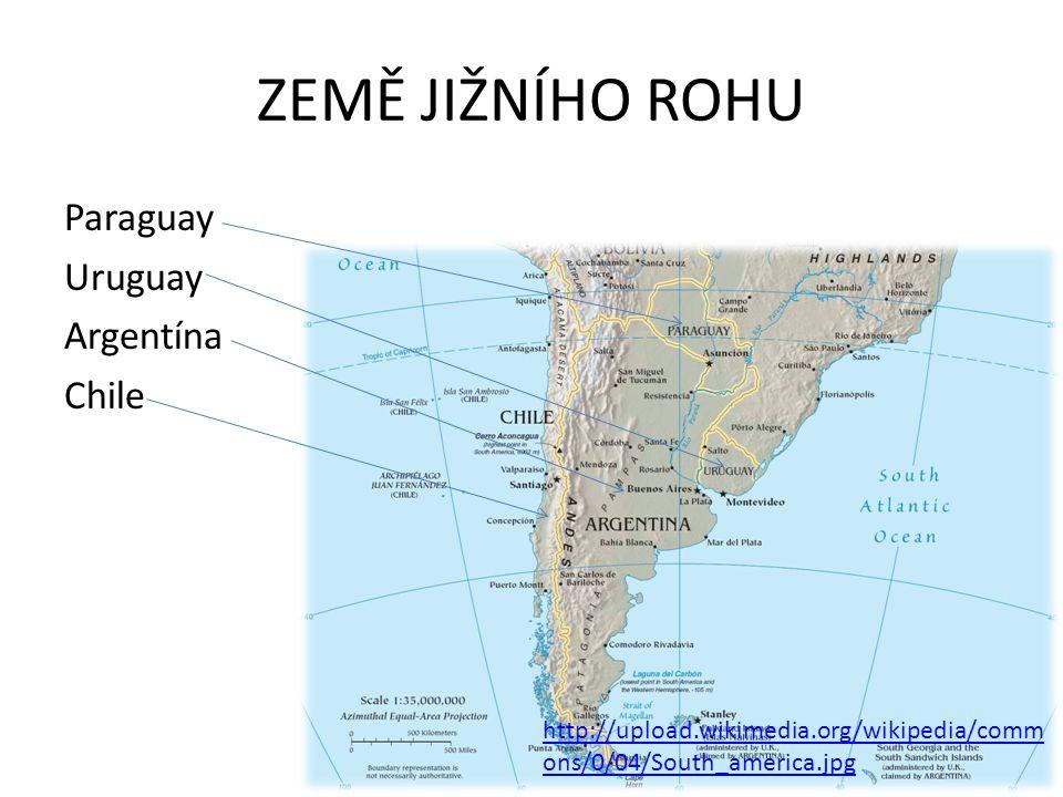ZEMĚ JIŽNÍHO ROHU Paraguay Uruguay Argentína Chile