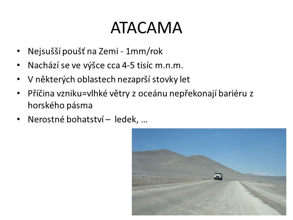 ATACAMA Nejsušší poušť na Zemi - 1mm/rok