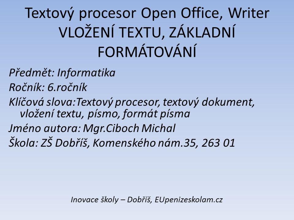 Inovace školy – Dobříš, EUpenizeskolam.cz