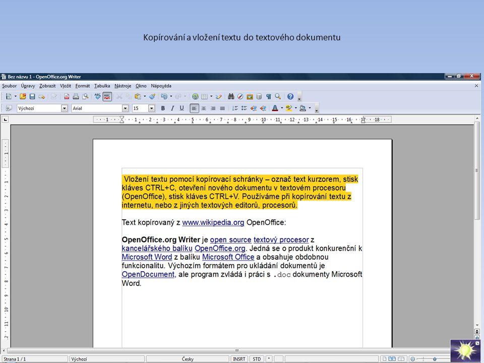 Kopírování a vložení textu do textového dokumentu