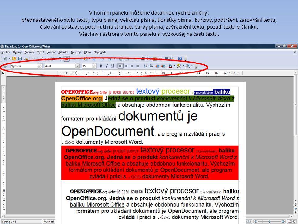 V horním panelu můžeme dosáhnou rychlé změny: přednastaveného stylu textu, typu písma, velikosti písma, tloušťky písma, kurzivy, podtržení, zarovnání textu, číslování odstavce, posunutí na stránce, barvy písma, zvýraznění textu, pozadí textu v článku.