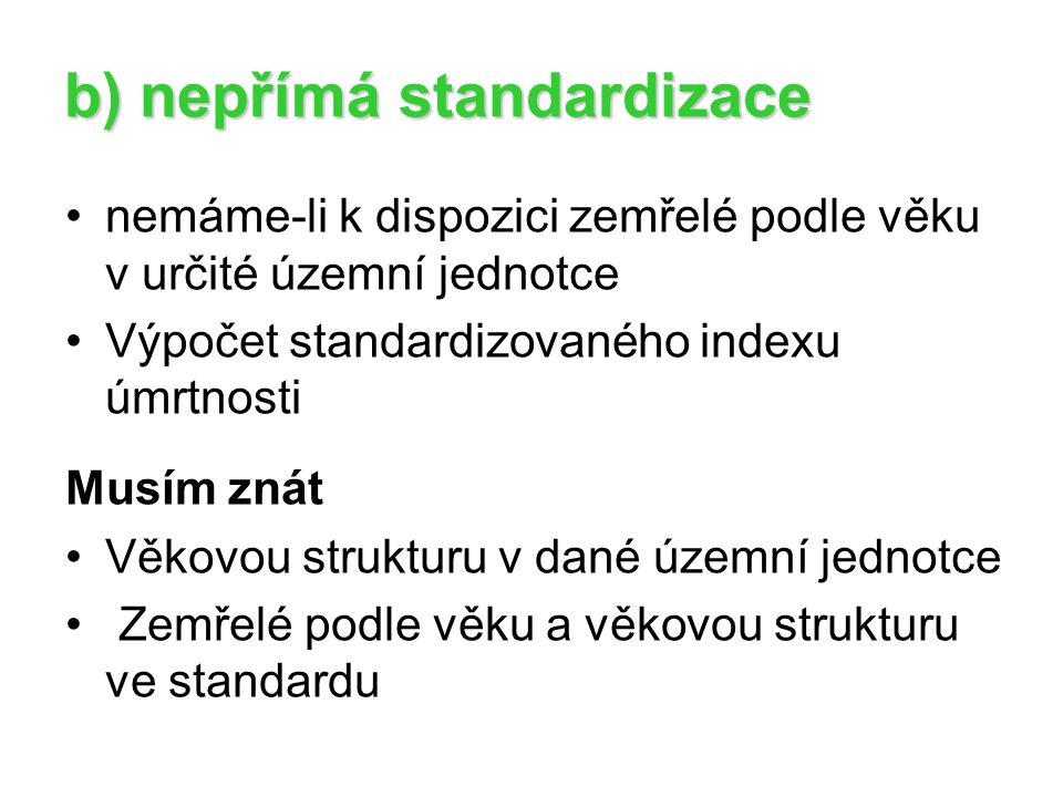 b) nepřímá standardizace