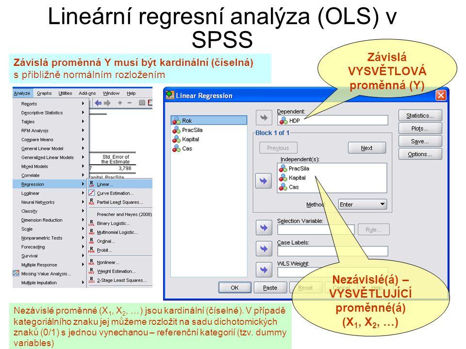 Lineární regresní analýza (OLS) v SPSS