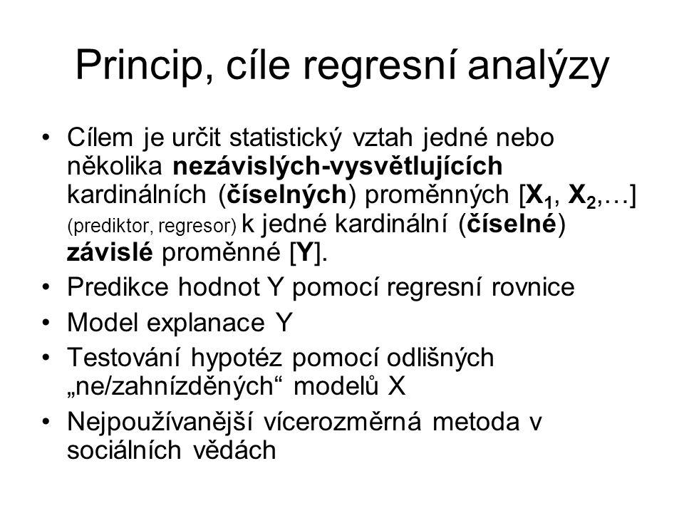 Princip, cíle regresní analýzy