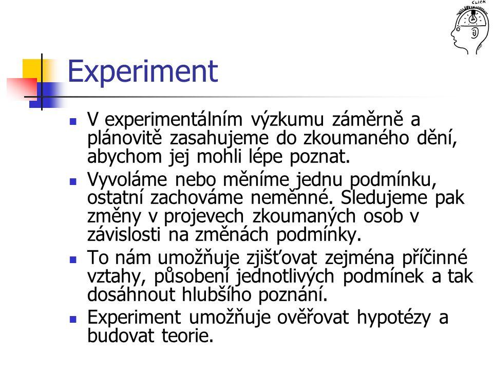Experiment V experimentálním výzkumu záměrně a plánovitě zasahujeme do zkoumaného dění, abychom jej mohli lépe poznat.