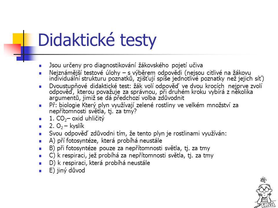 Didaktické testy Jsou určeny pro diagnostikování žákovského pojetí učiva.