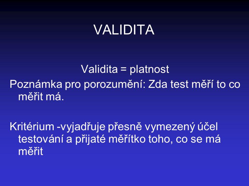 VALIDITA Validita = platnost