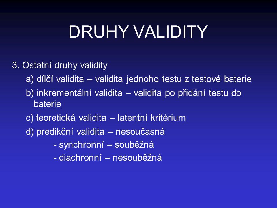 DRUHY VALIDITY 3. Ostatní druhy validity