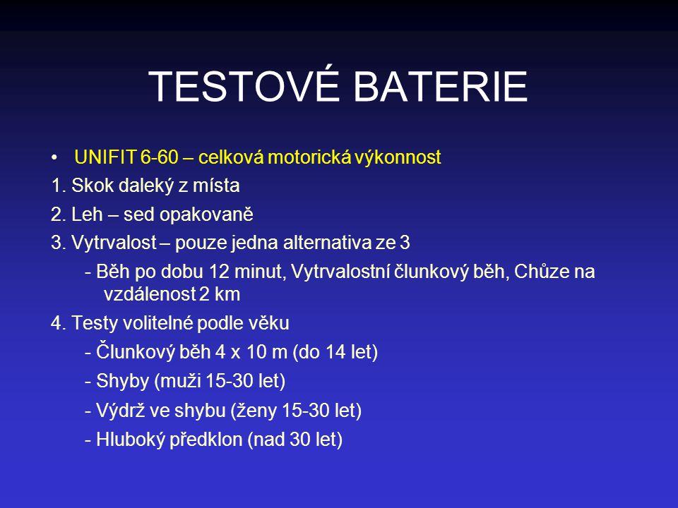 TESTOVÉ BATERIE UNIFIT 6-60 – celková motorická výkonnost