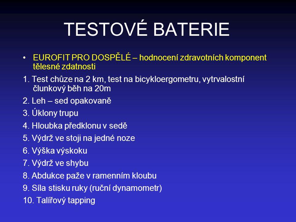 TESTOVÉ BATERIE EUROFIT PRO DOSPĚLÉ – hodnocení zdravotních komponent tělesné zdatnosti.