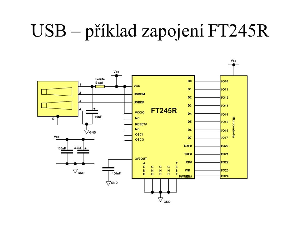 USB – příklad zapojení FT245R