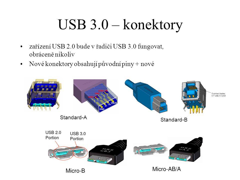 USB 3.0 – konektory zařízení USB 2.0 bude v řadiči USB 3.0 fungovat, obráceně nikoliv. Nové konektory obsahují původní piny + nové.