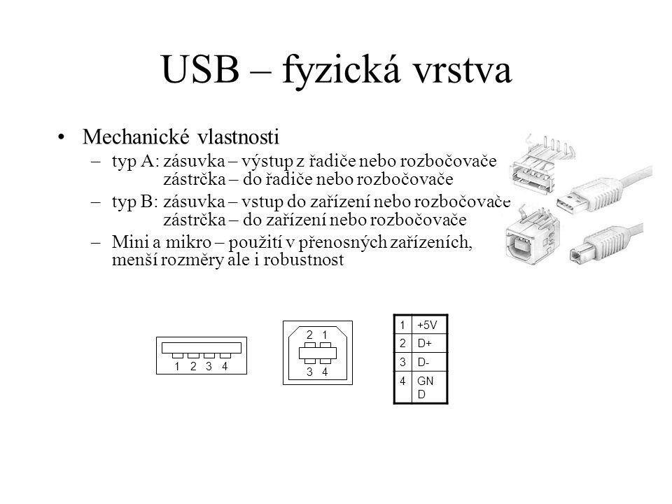 USB – fyzická vrstva Mechanické vlastnosti