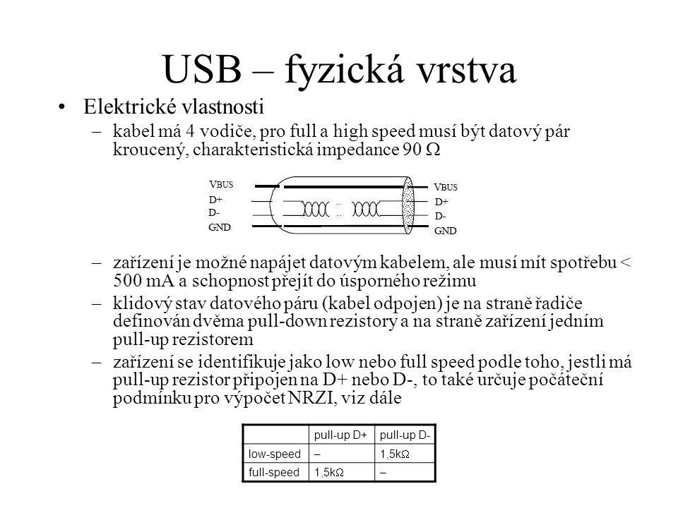 USB – fyzická vrstva Elektrické vlastnosti