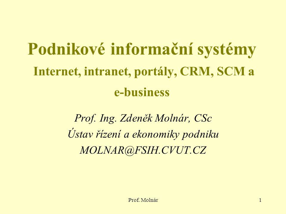 Podnikové informační systémy Internet, intranet, portály, CRM, SCM a e-business